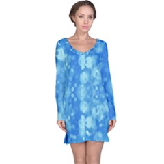Light Circles, Dark And Light Blue Color Long Sleeve Nightdress by picsaspassion