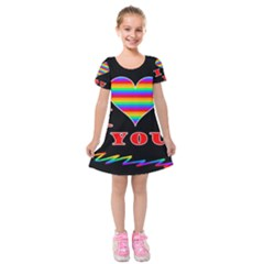 I Love You Kids  Short Sleeve Velvet Dress by Valentinaart