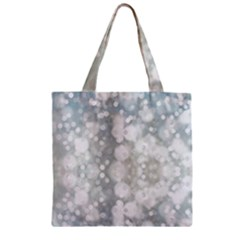 Light Circles, Blue Gray White Colors Zipper Grocery Tote Bag by picsaspassion