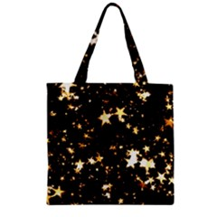 Golden Stars In The Sky Zipper Grocery Tote Bag by picsaspassion