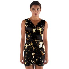 Golden Stars In The Sky Wrap Front Bodycon Dress by picsaspassion