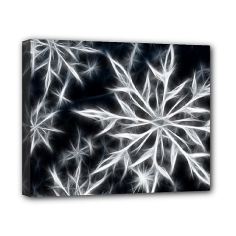 Snowflake In Feather Look, Black And White Canvas 10  X 8  by picsaspassion