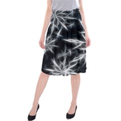 Snowflake In Feather Look, Black And White Midi Beach Skirt by picsaspassion