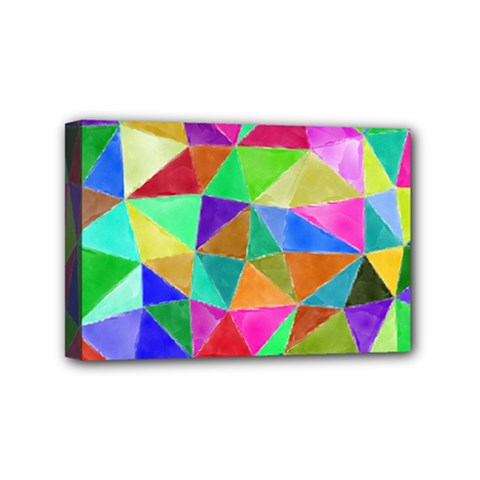 Triangles, Colorful Watercolor Art  Painting Mini Canvas 6  X 4  by picsaspassion