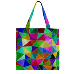 Triangles, Colorful Watercolor Art  Painting Zipper Grocery Tote Bag by picsaspassion