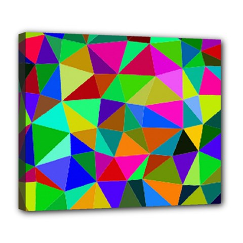 Colorful Triangles, Oil Painting Art Deluxe Canvas 24  X 20   by picsaspassion
