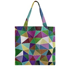 Colorful Triangles, Pencil Drawing Art Zipper Grocery Tote Bag by picsaspassion