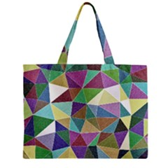 Colorful Triangles, Pencil Drawing Art Zipper Mini Tote Bag by picsaspassion