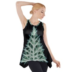 Christmas Fir, Green And Black Color Side Drop Tank Tunic by picsaspassion