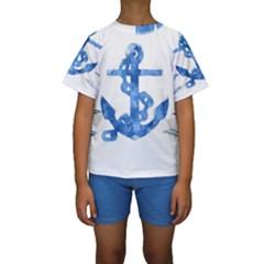 Anchor Aquarel painting art, soft blue Kids  Short Sleeve Swimwear by picsaspassion