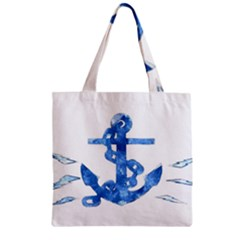 Anchor Aquarel Painting Art, Soft Blue Zipper Grocery Tote Bag by picsaspassion