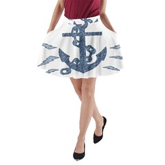 Anchor Pencil Drawing Art A Line Pocket Skirt by picsaspassion