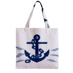 Blue Anchor Oil Painting Art Zipper Grocery Tote Bag by picsaspassion