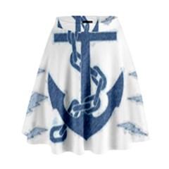 Blue Anchor Oil Painting Art High Waist Skirt by picsaspassion