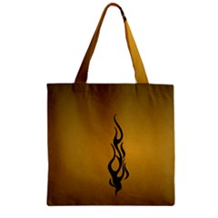 Flame Black, Golden Background Zipper Grocery Tote Bag by picsaspassion