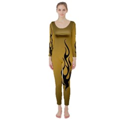 Flame Black, Golden Background Long Sleeve Catsuit by picsaspassion