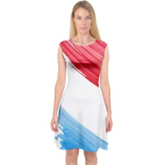Tricolor banner watercolor painting, red blue white Capsleeve Midi Dress by picsaspassion