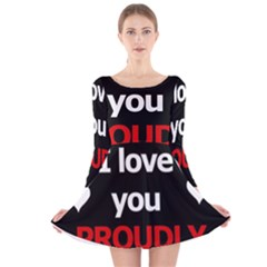 I Love You Proudly Long Sleeve Velvet Skater Dress by Valentinaart
