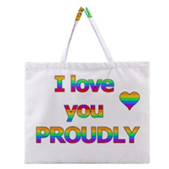 I Love You Proudly 2 Zipper Large Tote Bag by Valentinaart