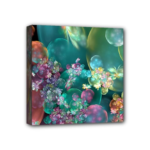 Butterflies, Bubbles, And Flowers Mini Canvas 4  X 4  by WolfepawFractals