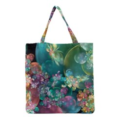 Butterflies, Bubbles, And Flowers Grocery Tote Bag by WolfepawFractals