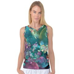 Butterflies, Bubbles, And Flowers Women s Basketball Tank Top by WolfepawFractals