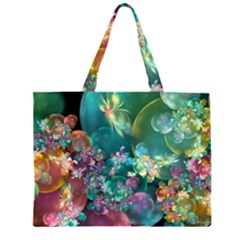 Butterflies, Bubbles, And Flowers Zipper Large Tote Bag by WolfepawFractals