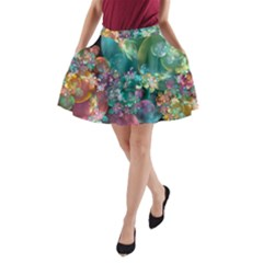 Butterflies, Bubbles, And Flowers A Line Pocket Skirt by WolfepawFractals