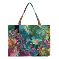 Butterflies, Bubbles, And Flowers Medium Tote Bag by WolfepawFractals