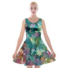 Butterflies, Bubbles, And Flowers Velvet Skater Dress