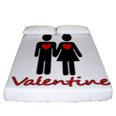 Be Mine Valentine Fitted Sheet (queen Size) by Valentinaart