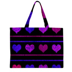 Purple And Magenta Harts Pattern Mini Tote Bag by Valentinaart