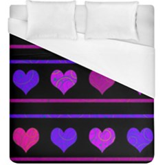 Purple And Magenta Harts Pattern Duvet Cover (king Size) by Valentinaart