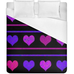 Purple And Magenta Harts Pattern Duvet Cover (california King Size) by Valentinaart