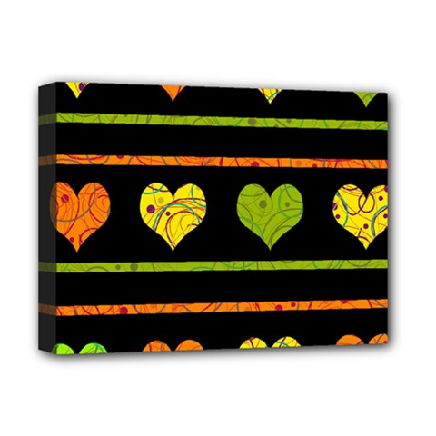 Colorful Harts Pattern Deluxe Canvas 16  X 12   by Valentinaart