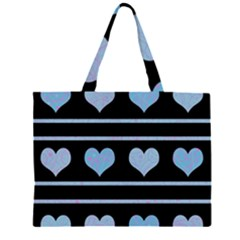 Blue Harts Pattern Zipper Large Tote Bag by Valentinaart