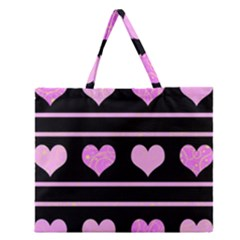 Pink Harts Pattern Zipper Large Tote Bag by Valentinaart