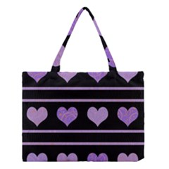 Purple Harts Pattern Medium Tote Bag by Valentinaart