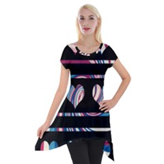 Colorful Harts Pattern Short Sleeve Side Drop Tunic by Valentinaart