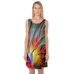 Fractal Bird Of Paradise Sleeveless Satin Nightdress by WolfepawFractals
