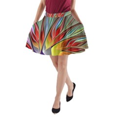 Fractal Bird Of Paradise A Line Pocket Skirt by WolfepawFractals