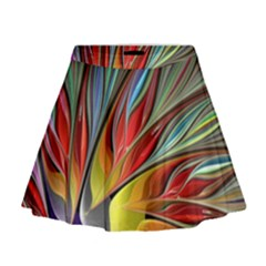 Fractal Bird Of Paradise Mini Flare Skirt by WolfepawFractals