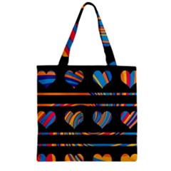 Colorful Harts Pattern Zipper Grocery Tote Bag by Valentinaart