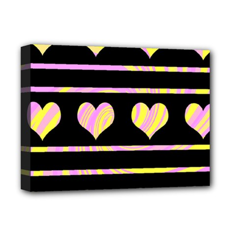 Pink And Yellow Harts Pattern Deluxe Canvas 16  X 12   by Valentinaart