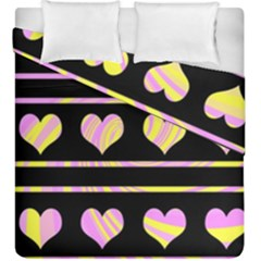 Pink And Yellow Harts Pattern Duvet Cover Double Side (king Size) by Valentinaart