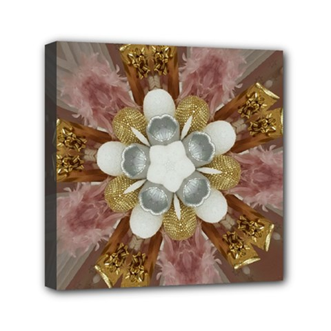 Elegant Antique Pink Kaleidoscope Flower Gold Chic Stylish Classic Design Mini Canvas 6  X 6
