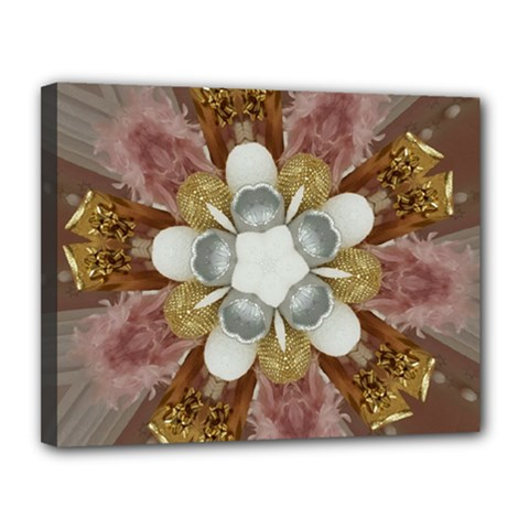 Elegant Antique Pink Kaleidoscope Flower Gold Chic Stylish Classic Design Canvas 14  X 11  by yoursparklingshop