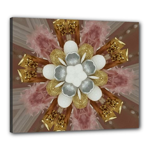 Elegant Antique Pink Kaleidoscope Flower Gold Chic Stylish Classic Design Canvas 24  X 20  by yoursparklingshop
