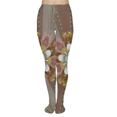 Elegant Antique Pink Kaleidoscope Flower Gold Chic Stylish Classic Design Women s Tights by yoursparklingshop