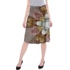 Elegant Antique Pink Kaleidoscope Flower Gold Chic Stylish Classic Design Midi Beach Skirt by yoursparklingshop